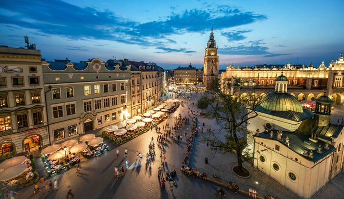 Krakow City Guide (Hilton)   Candy-coloured buildings, wide medieval squares, twisting cobblestoned streets and a skyline of baroque cathedral spires: Krakow is a city that's easy to love.