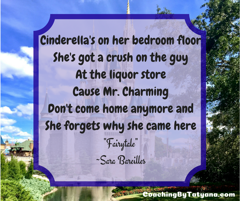 Cinderella's on her bedroom floor she's got aCrush on the guy at the liquor store'Cause Mr. Charming don't come home anymore.png