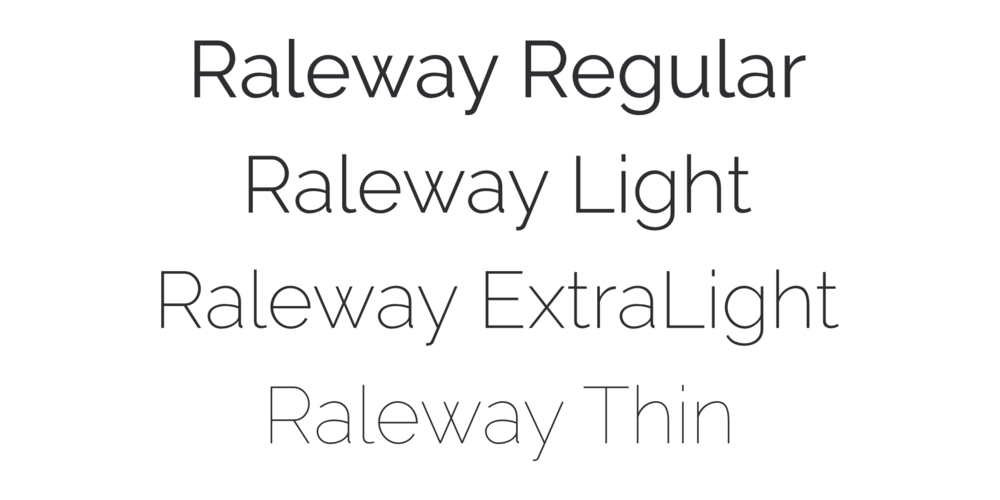 Raleway light font weights