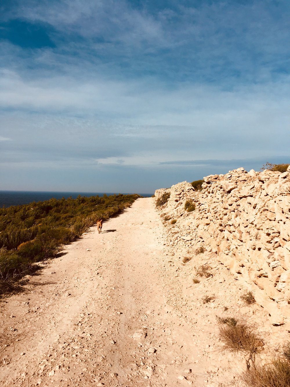 Camino mit Natursteinmauer