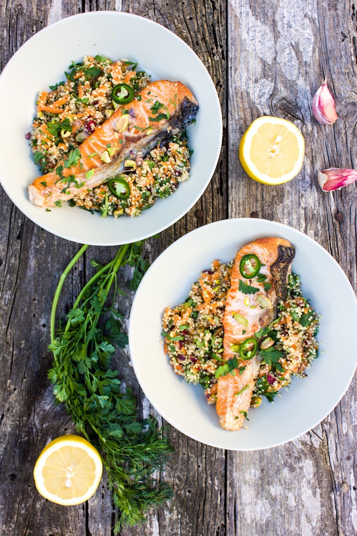 #salmon #quinoa #honey #lemon #coriander #pistachios #healthy #easy #yummy