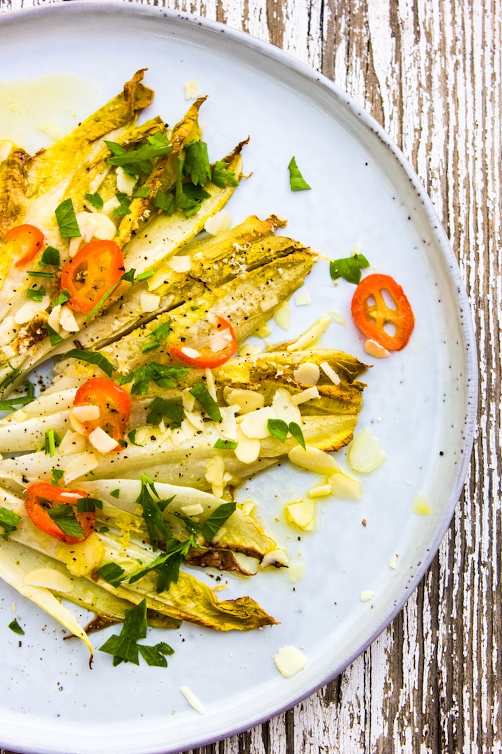 endive with chili butter, vegetarian and healthy