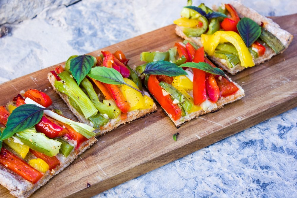 Coca Ibizenca - the Spanish version of a vegan flatbread