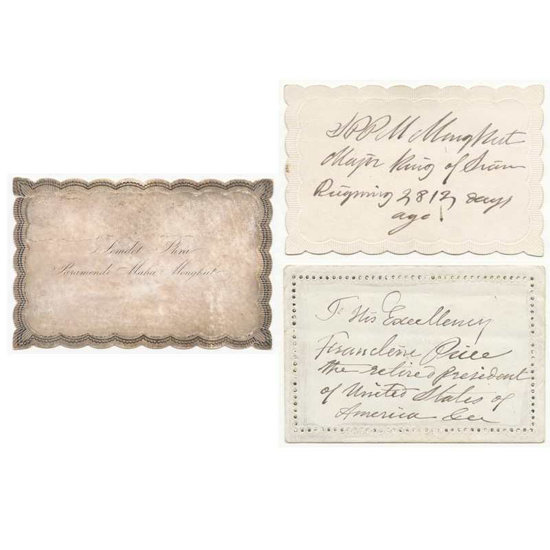 Calling Cards from King Mongkut to President Franklin Pierce, 1859 Courtesy of the National Archives and Records Administration, General Records of the United States Government; 6923541