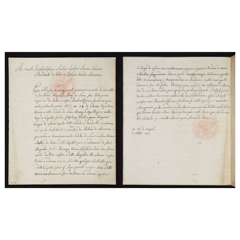 Letter from Phraya Suriyawong Montri (Dit Bunnag) to President James Monroe, 1818 Courtesy of the Library of Congress, Manuscript Division; James Monroe Papers Series I. Collection Doc No 4784-4785
