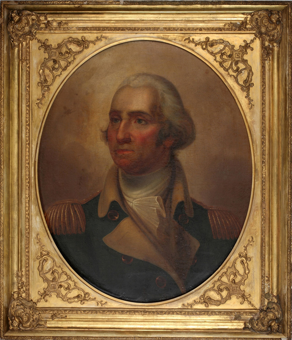 Portrait of George Washington Attributed to Rembrandt Peale Gift from President Franklin Pierce to Second King Pinklao, 1856 92 x 79 cm Courtesy of the Fine Arts Department of Thailand; P.48  ภาพเหมือนประธานาธิบดีจอร์จ วอชิงตัน สันนิษฐานว่าเป็นฝีมือของเรมบรันต์ พีล ของขวัญจากประธานาธิบดีแฟรงกลิน เพียร์ซ ทูลเกล้าฯ ถวายแด่พระบาทสมเด็จพระปิ่นเกล้าเจ้าอยู่หัว พ.ศ. ๒๓๙๙ ๙๒x ๗๙ ซม. ได้รับความอนุเคราะห์จากกรมศิลปากร; P.48