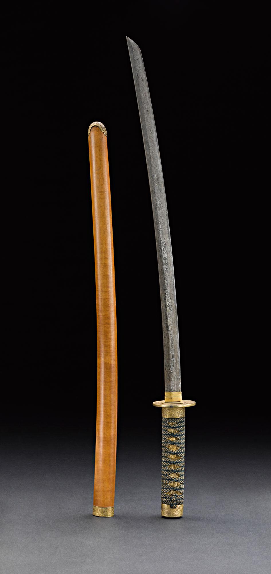 Japanese-style Sword with Satinwood Scabbard Gift from King Mongkut to President Franklin Pierce, 1856 83 cm length Courtesy of the Smithsonian Institution, Department of Anthropology; E101-1; Photo by James Di Loreto and Lucia RM Martino  ดาบทำอย่างญี่ปุ่น ฝักไม้แก้ว ของขวัญพระราชทานจากพระบาทสมเด็จพระจอมเกล้าเจ้าอยู่หัว แก่ประธานาธิบดีแฟรงกลิน เพียร์ซ พ.ศ. ๒๓๙๙