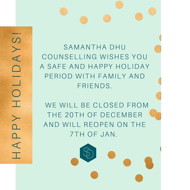 🌠HAPPY HOLIDAYS🌠 . My practice will be closed from the 20th of December until the 7th of Jan. However, I will still be accepting referrals and bookings during this time. .  You can call my virtual admin team and leave a message and they will get back to you. . Wishing you a safe and happy holiday period with family and friends. . . .  #inspiration #motivation #motivationalquotes #dailyinspiration #valuesbasedliving #success #inspire #quote#quotes #inspo#relationships #relationshipgoals #relationshipsmatter#communication#communicationiskey #communicationskills#kindness #selflove #selfcare #kindnessrocks#acceptanceandcommitmenttherapy #cognitivebehaviouraltherapy#systemstherapy #gestalttherapy#chaseyourdreams#knowledgeispower#knowthyself#bossbabemovement