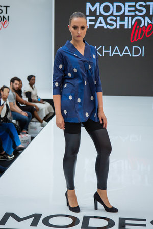 806d17fcf1168 Khaadi Navy Blue Embroidery Top and Black Leggings