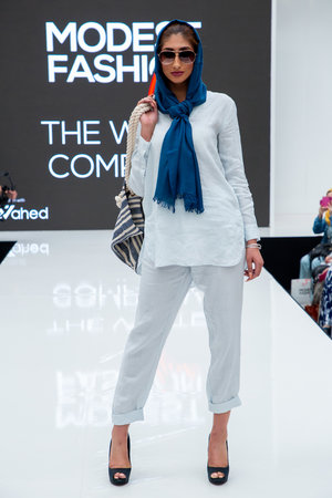 ace83515f708c The White Company Powder Blue Blouse, Beach Trousers, Blue Scarf and Stripe  Tote Bag