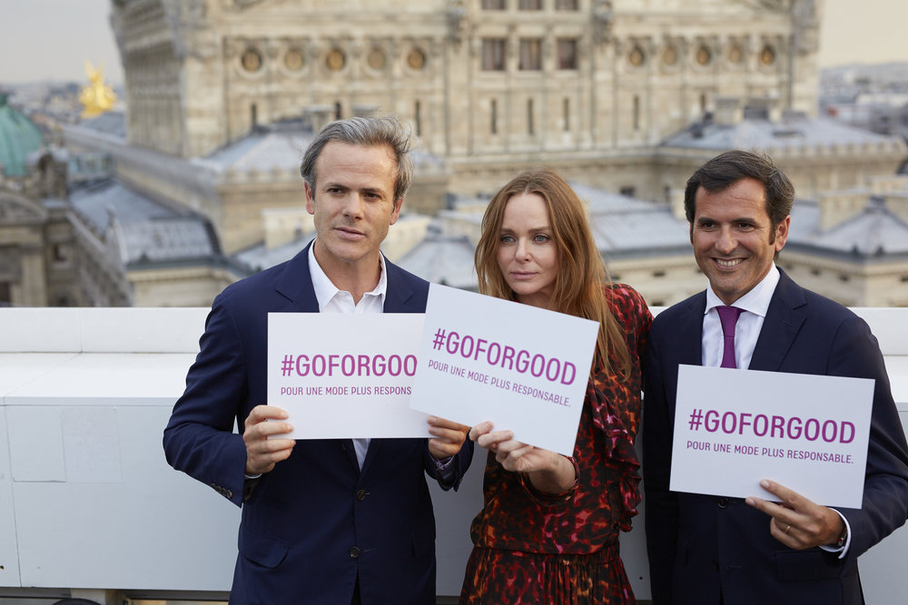 Guillaume Houzé, Stella McCartney et Nicolas Houzé lors du lancement de Go for Good