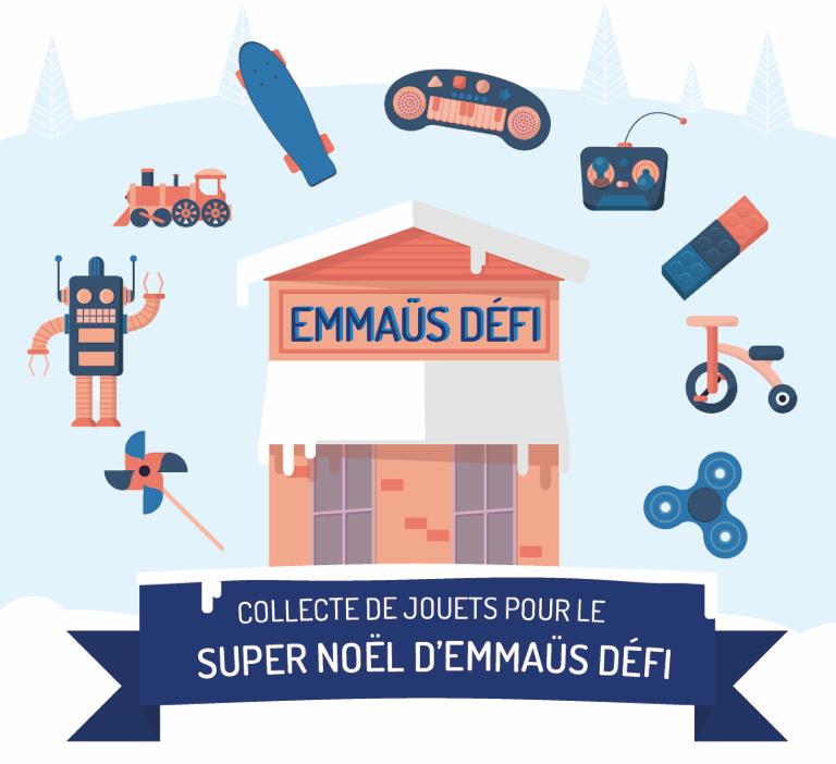 Le Super Noël chez Emmaüs Défi - Des ventes festives avec un accueil privilégié tant pour les enfants que les parents, ainsi qu'une réduction en caisse de 50% sur l'achat de jouets neufs et d'occasion.Ces ventes spéciales sont destinées à des familles « VIP » (familles vivant en centres d'hébergement orientées par les services sociaux de Paris) ou qui ont bénéficié du dispositif de la BSE (qui ont donc obtenu leur logement dans l'année, et vivent leur premier Noël dans leur premier « chez-eux » !).En 2017, près de 1500 jouets ont été vendus durant ces ventes privilégiées, et ont bénéficié à 164 familles. De quoi permettre de belles fêtes de fin d'années !Emmaüs Défi Riquet 40 Rue Riquet, 75019 ParisEmmaüs Défi au 104, 104 Rue d'Aubervilliers, 75019 Paris
