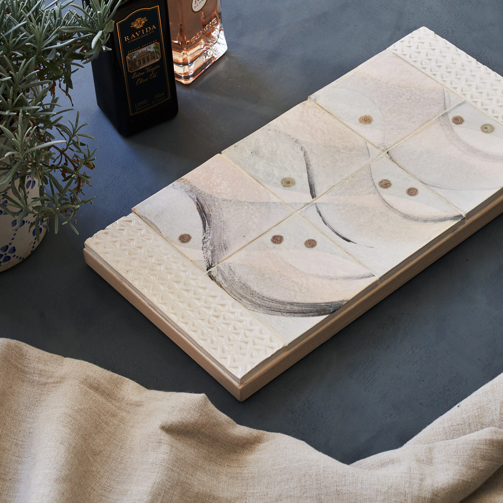 Brushwork Lace,  Tiled Platter , 20 x 40cm @ £175