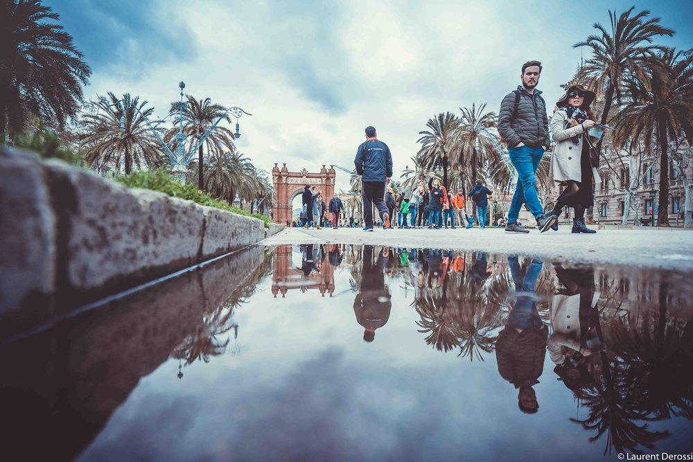 Barcelona puddle reflection