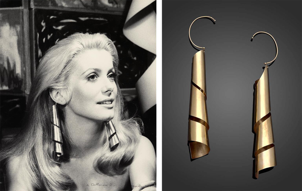 Catherine Deneuve wearing Lampshade earrings, 1966