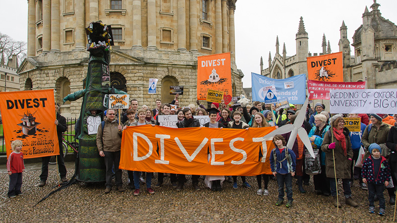 Divestment protest in Oxford (Image source: Climate Change News)