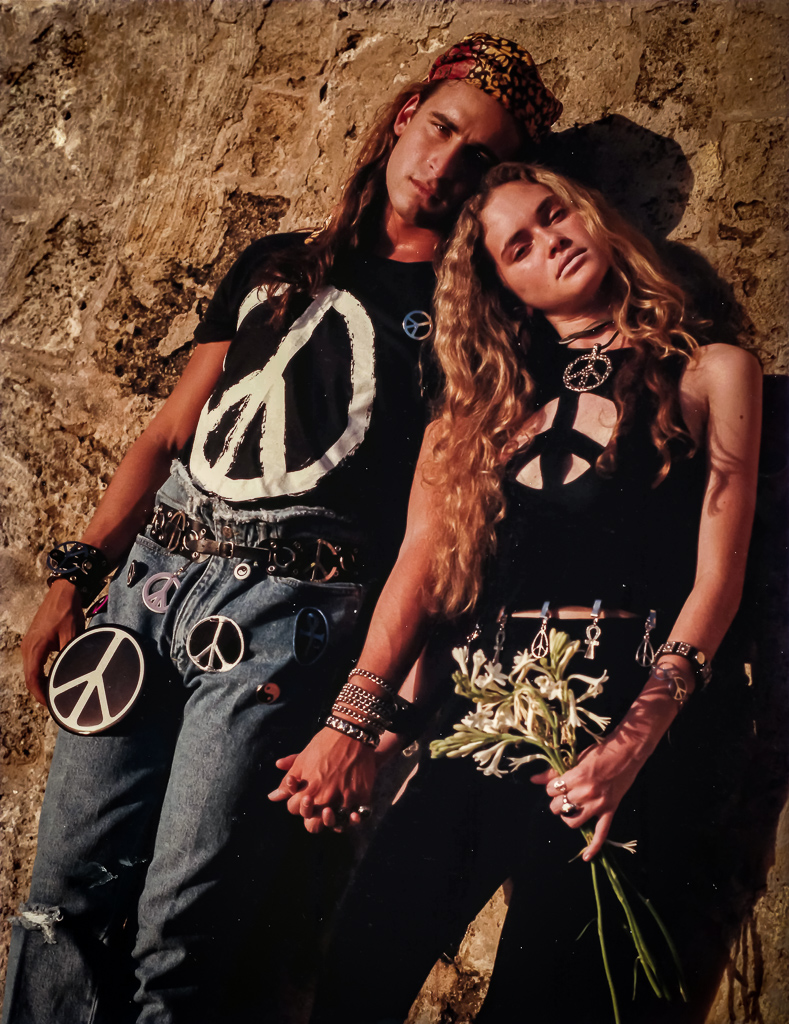 Peace and love was all the rage back in 1989 and we captured it in this pic with a bit of humor and a bit of sexiness.
