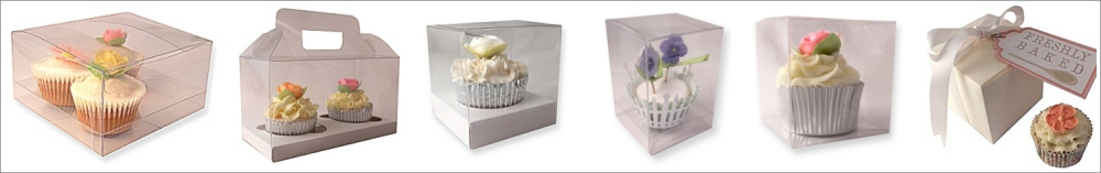Cupcake boxes for individual cupcakes & larger cupcake boxes in a range of sizes & designs