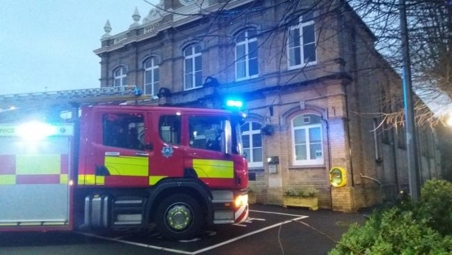 The East Cowes fire engine at the town hall. Picture by East Cowes Fire Station.