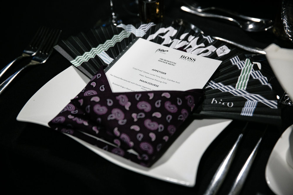 Silk pocket squares were tastefully presented to every guest