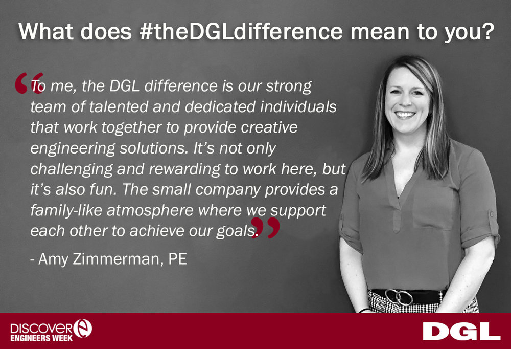 "Amy Zimmerman, PE is a Transportation Engineer, with 15 years of transportation engineering experience. When asked what  #theDGLdifference  means to her, Amy said, ""To me, the DGL difference is our strong team of talented and dedicated individuals that work together to provide creative engineering solutions. It's not only challenging and rewarding to work here, but it's also fun. The small company provides a family-like atmosphere where we support each other to achieve our goals."""