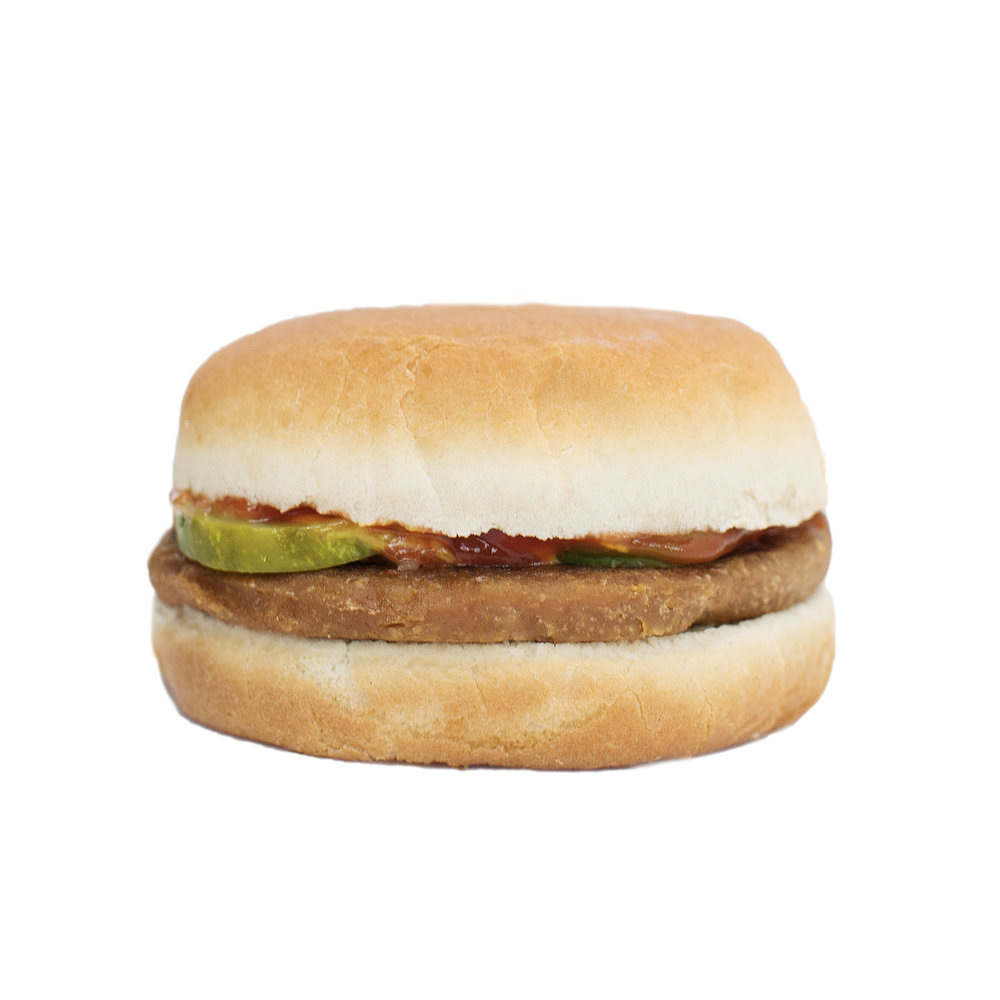 kids burger - Grilled souse-made patty topped with ketchup, mustard, pickles and onion served on a toasted soft plain bun.