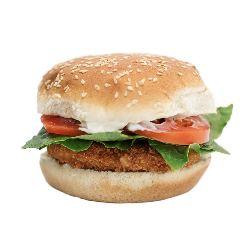 crispy chickun - This popular crispy burger starts with our signature chickUn made from scratch, seasoned and battered, then fried for an extra crispy texture. Served on a toasted plain or whole wheat bun, and topped with fresh green leaf lettuce, two slices of tomato and our house-made 'mayo'.
