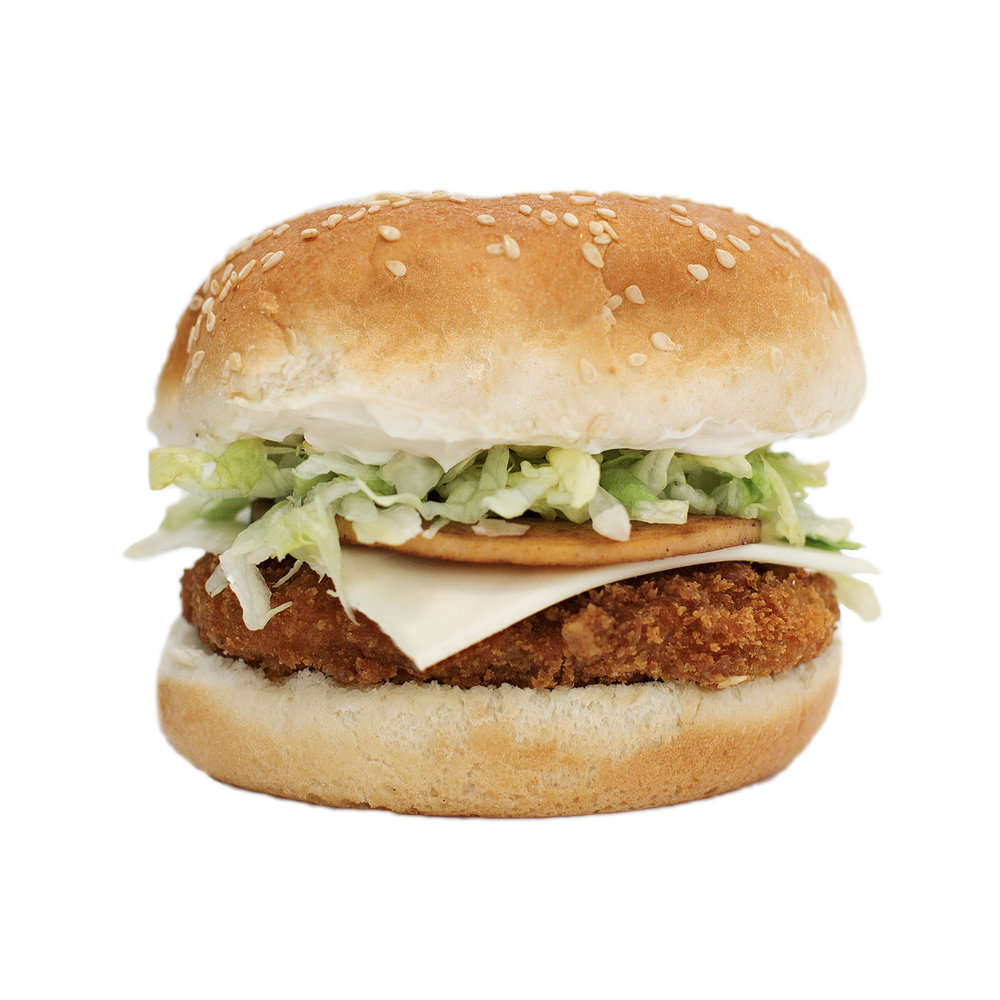 chickun cordon bleu - A classic meal with a twist! We take our crispy chickUn burger and top it dairy-free American style mozzarella cheese, 'ham', iceberg lettuce and our creamy 'mayo' sauce.