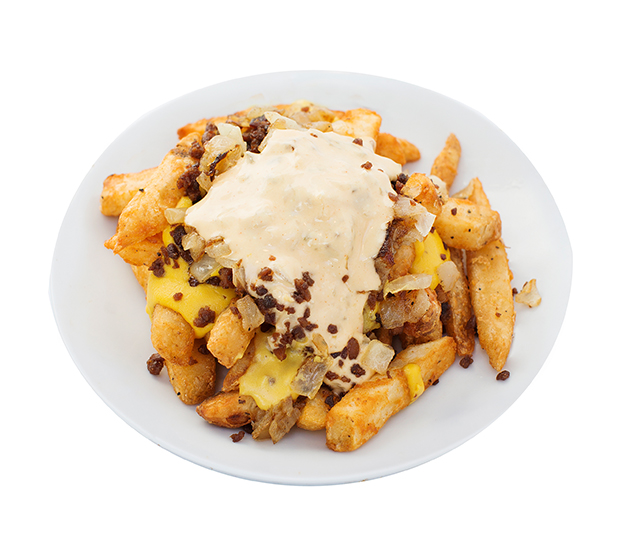 famous style fries - Hold onto your hats!  We've created an unreal food experience with our amazing fries by adding creamy cheeze sauce, caramelized onions, smokey bacUn bits topped with our delicious famous sauce.