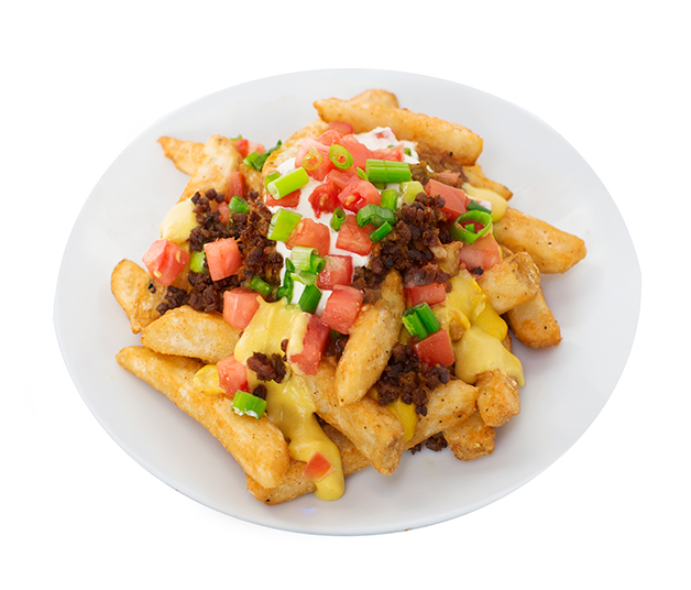 bacun fries supremacy - We take our crispy thick cut fries and smother them in creamy cheeze sauce, topped with smokey bacUn bits, sour 'cream', diced tomatoes and green onions.