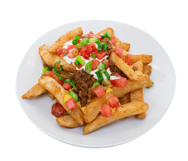 fries supremacy - This is our take on a classic fast food side item - and it's even better than the real thing!  Our crispy thick cut fries are smothered in creamy cheeze sauce, topped with taco meat, sour 'cream', diced tomatoes and green onions.