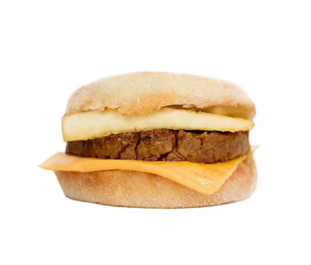 'sausage' breakfast sandwich - Try our made from scratch breakfast 'sausage' on a toasted English muffin with tofu 'egg' and dairy-free American style cheddar cheese.