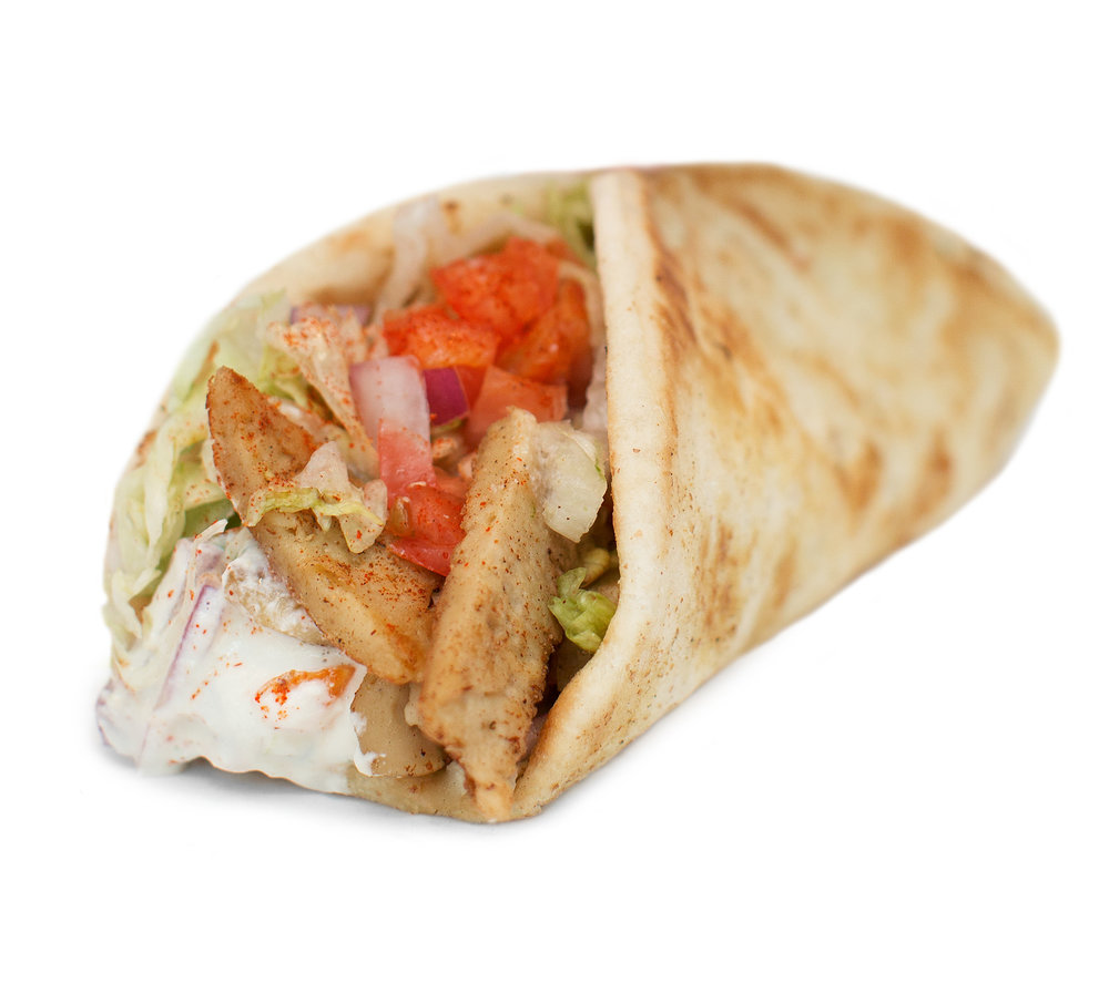 CHICKUN SOUVLAKI - This classic Greek wrap is made with our grilled and seasoned chickUn, topped with creamy cashew tzatziki sauce, diced tomatoes, red onion and seasoning salt.