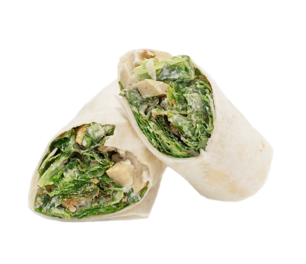chickun caesar wrap - This wrap is perfect for a light meal.  We take a fresh plain or whole wheat wrap and add fresh green leaf lettuce, our creamy house-made caesar sauce, bacUn bit, vegan parmesan cheese and grill chickUn.