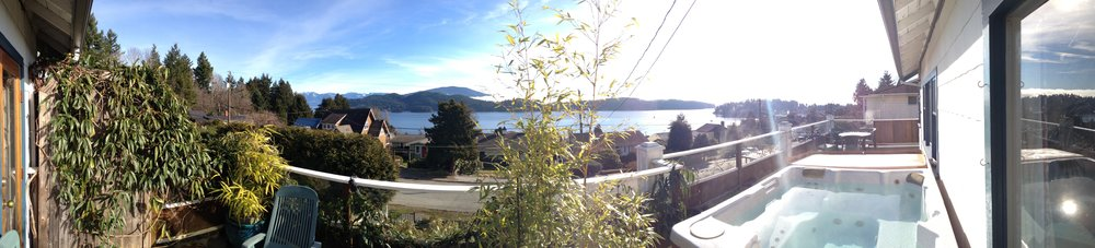 Part of the panoramic 130 degree view from the hot tub on the upper deck.