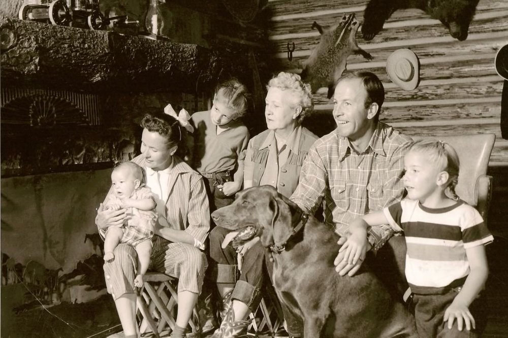 The Smith Family sitting in the Lodge