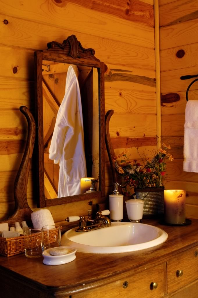 A cabin bathroom detail.