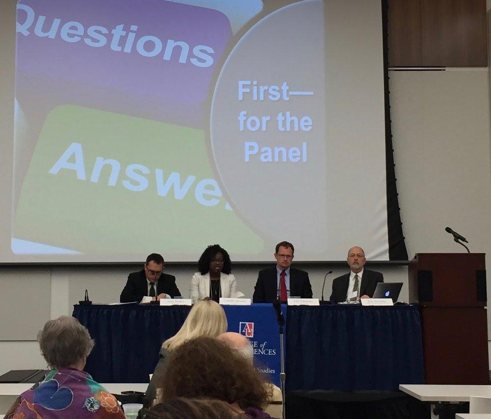 Left to right: Amir Becker, Camille Stewart, Lior Tabansky, and professor Eric Novotny.