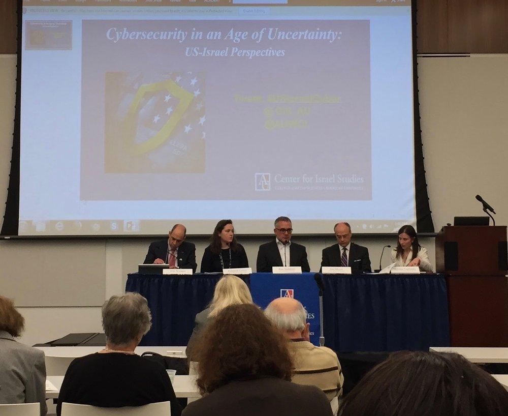 Left to right: Eric Wenger, Rebekah Lewis, Ran Nahmias, Jonathan Meyer, and professor Melanie Teplinski.