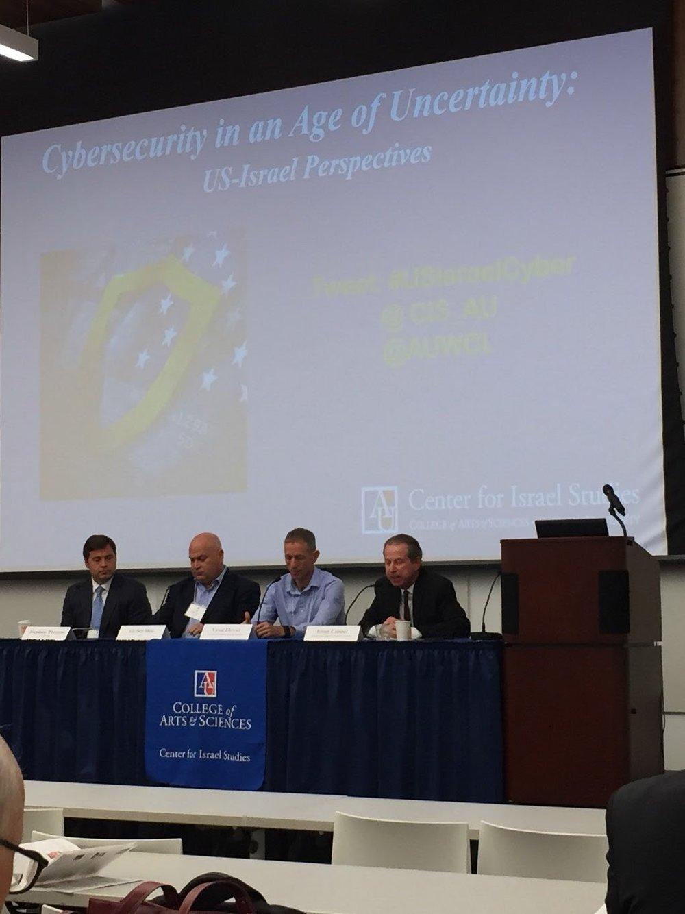 Left to right: Stephen Thomas, Eli Ben-Meir, Yuval Elovici, and professor Erran Carmel.
