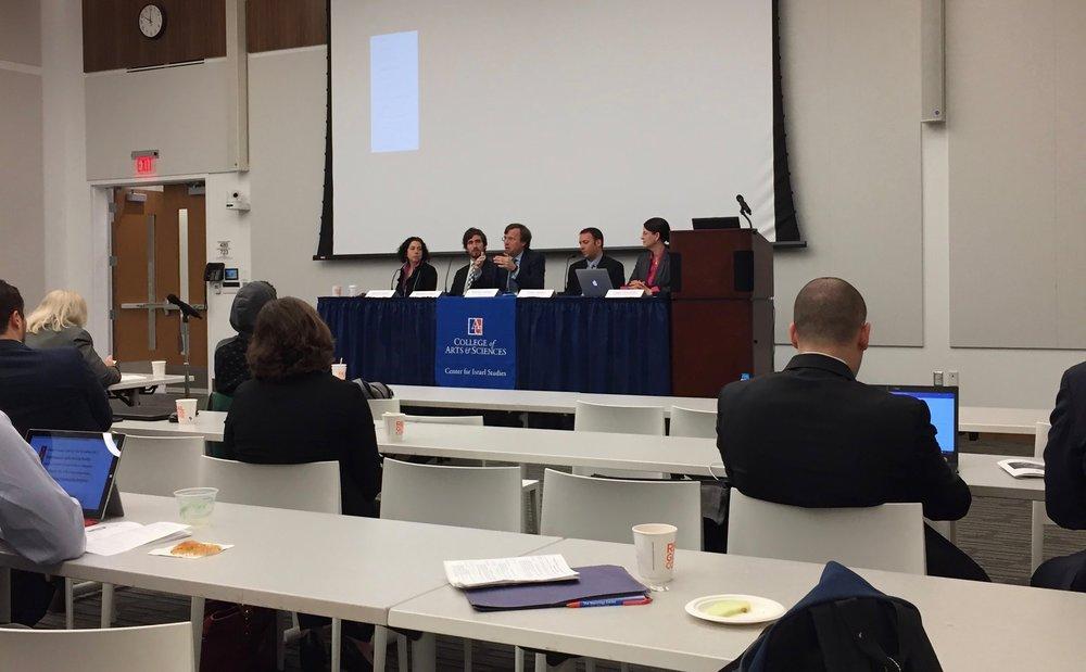 Left to right: professor Jennifer Daskal, Benjamin Dean, Michael Nelson, Eldar Haber, and Dr. Laura DeNardis.