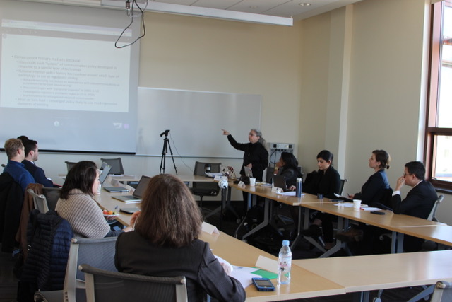 Texas A&M professor Sandra Braman presents at symposium on Internet governance research methods.