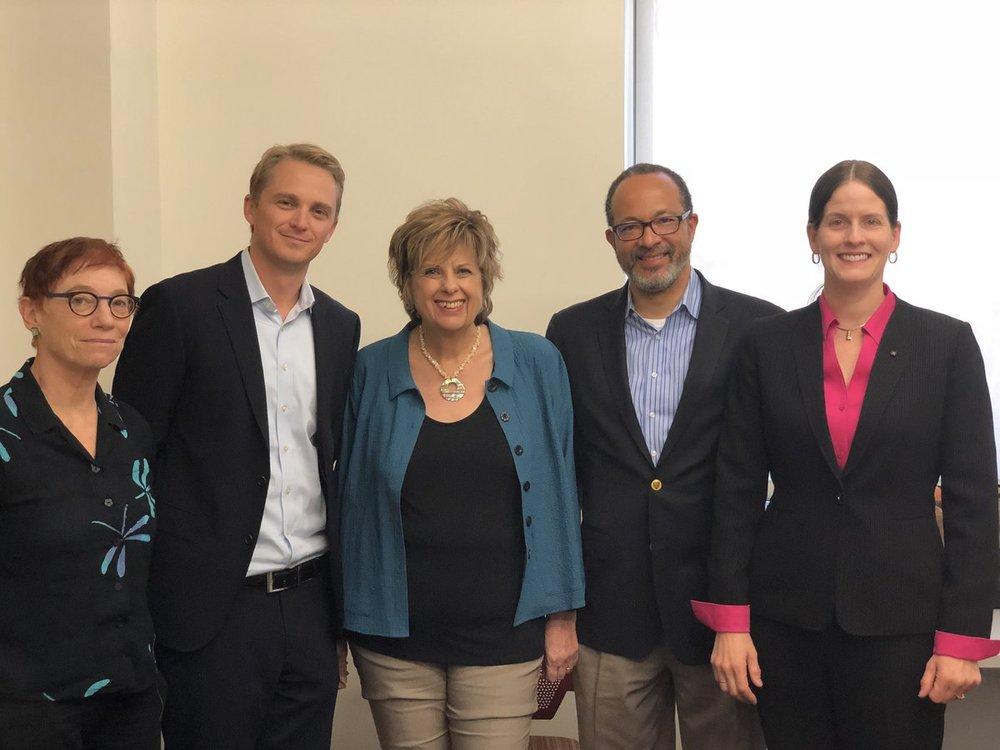 From left, Dr. Patricia Aufderheide, Dr. Merrill, Dr. Kathryn Montgomery, Dr. Derrick Cogburn, and Dr. Laura DeNardis.