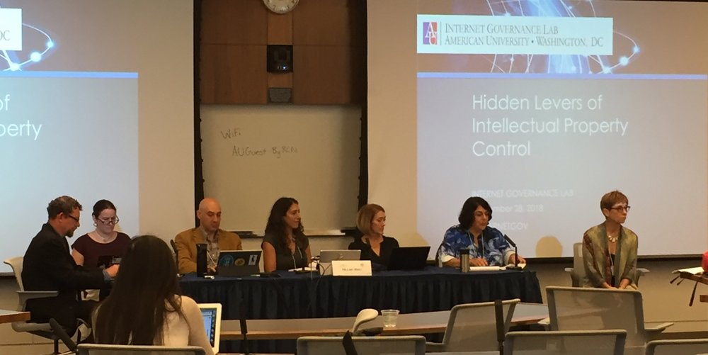 From left: Dr. Andrew Rens, Prof. Rebecca Tushnet, Dr. Aram Sinnreich, Prof. Hillary Brill, Prof. Christine Farley, Prof. Kathy Kleiman, and Dr. Patricia Aufderheide, who moderated the panel.