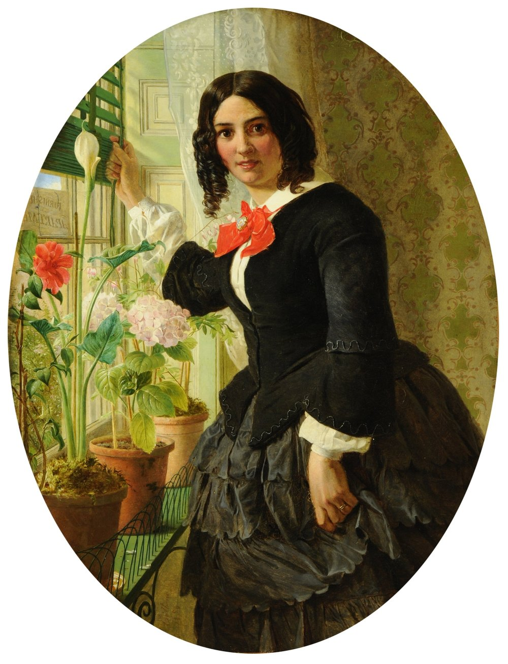 "The Landlady, 1856 (oil on canvas): James Collinson, (1825-81). Credit: Sheffield Galleries and Museums Trust, UK/Bridgeman Images.  Geraniums and Venetian blinds were familiar Victorian codes for the suburban. The young woman is advertising rooms ""to let"": numerous Victorian novels begin with a stranger arriving in a suburban locale and working to make sense of the inhabitants."