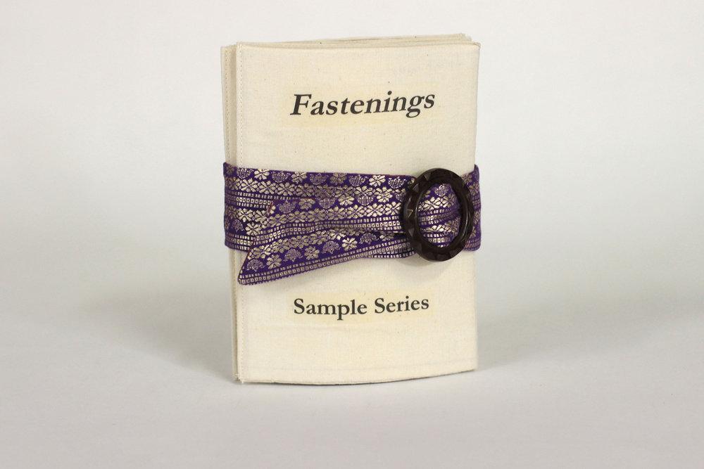 Miranda Howard, Sample Series: Fastenings (Prototype), Cloth, Plastic, Brass, Mother-of-Pearl, 2018, Kalamazoo, MI