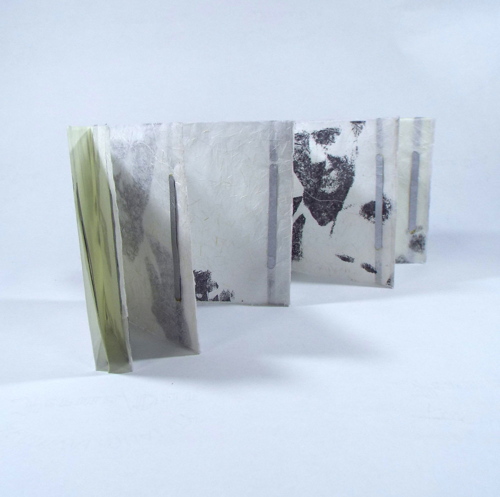 Honore Lee, Father and Son Long Ago, Japanese paper, encaustic, photo-transfer, 2018, $70, Kalamazoo, MI