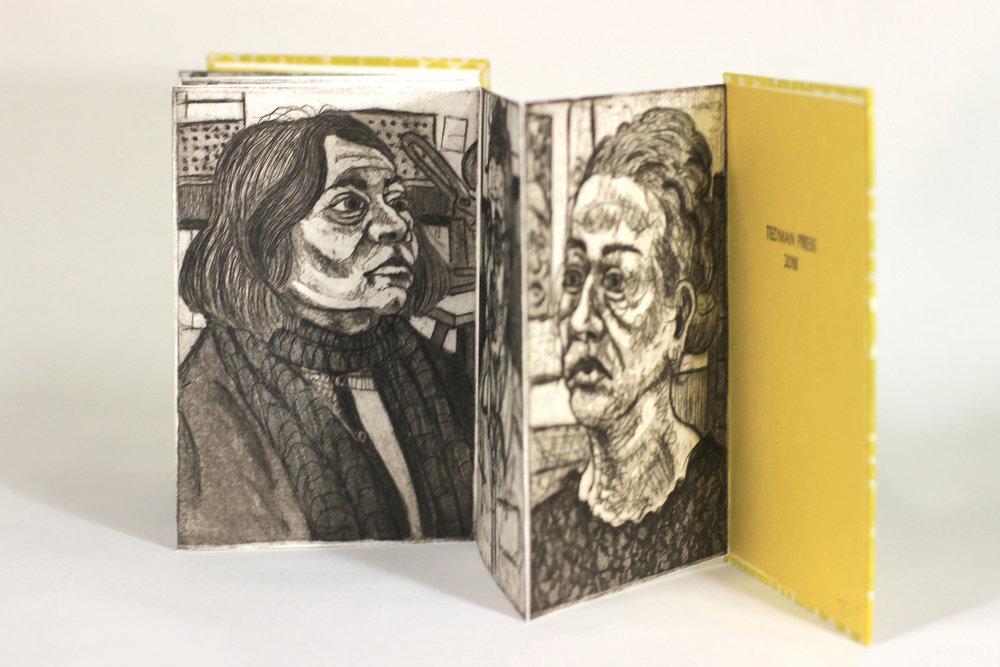 Teddy Lepley, Train Your Monkey Brain, Etching, Letterpress, Hand-Stamped Paper, 2018, $200, Muncie, IN