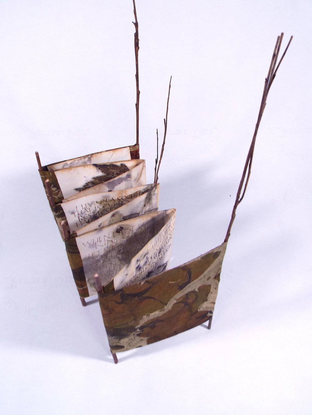 Christine Orsolini, Autumn Muse, walnut Ink, gold pigment on Eco-print paper, twigs, handmade paper, 2018, $125, Kalamazoo, MI