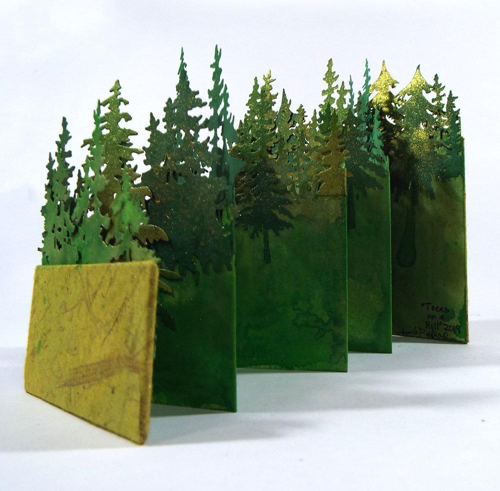 Jamila Rufaro, Trees on a Hill, Mixed-media paper, 2018, $75, Palo Alto, CA